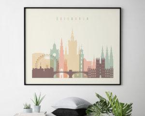 Edinburgh travel poster pastel cream landscape second