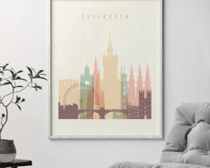 Edinburgh art print skyline pastel cream second
