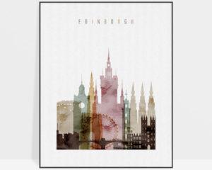 Edinburgh skyline art watercolor 1