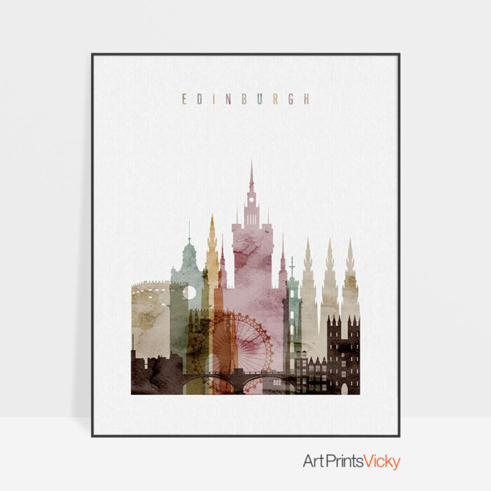 Edinburgh Skyline Poster Watercolor 1