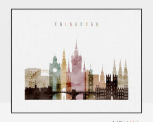 Edinburgh skyline print watercolor 1 landscape