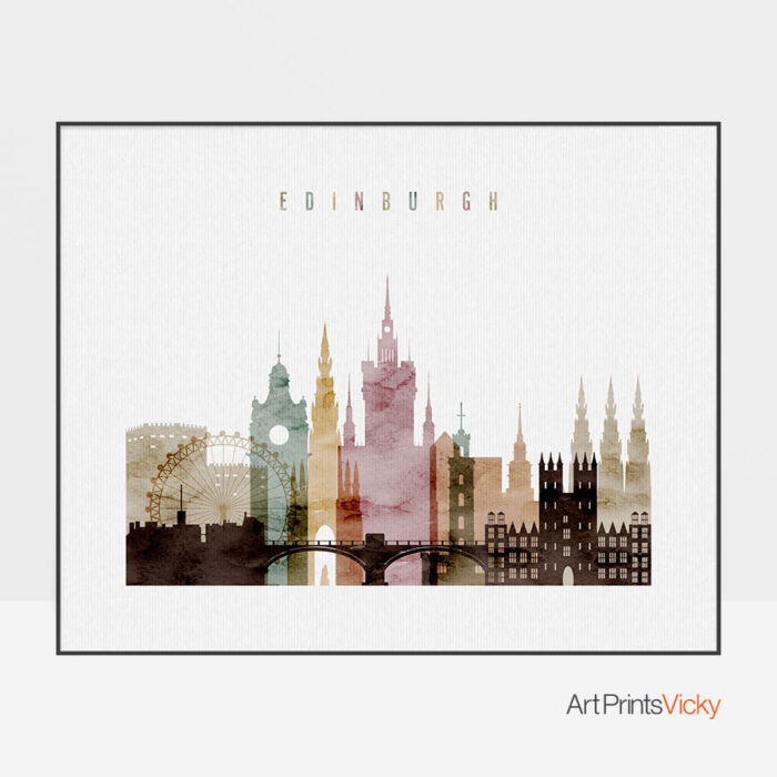 Edinburgh skyline print watercolor 1 landscape