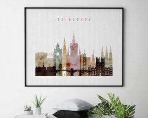 Edinburgh skyline print watercolor 1 landscape second