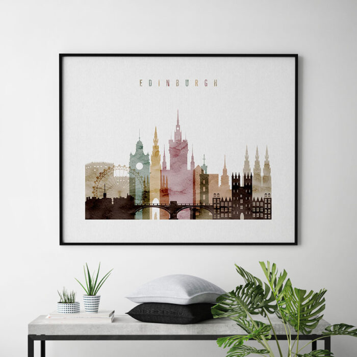 Edinburgh skyline print watercolor 1 landscape second