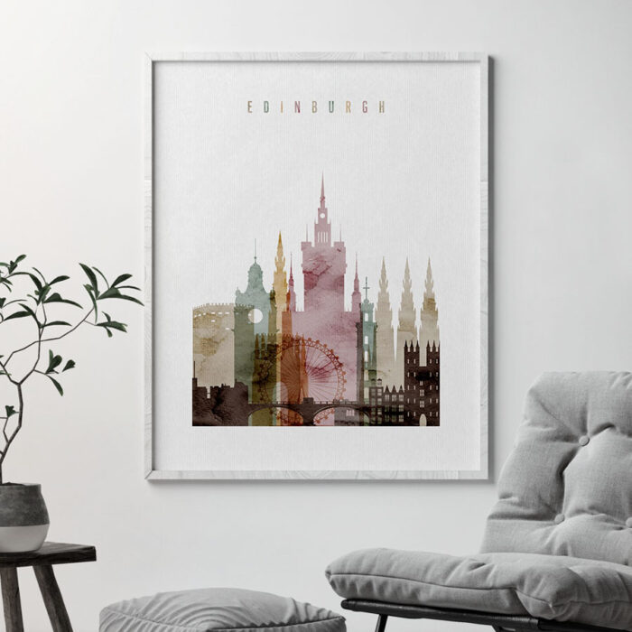 Edinburgh skyline art watercolor 1 second
