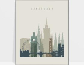 Edinburgh print skyline earth tones 1