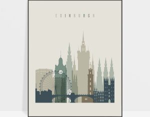 Edinburgh print skyline earth tones 1