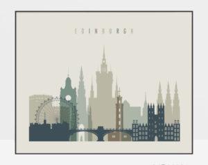 Edinburgh print earth tones 1 landscape