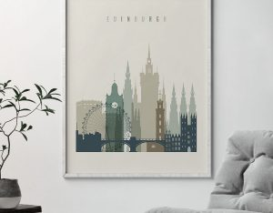 Edinburgh print skyline earth tones 1 second