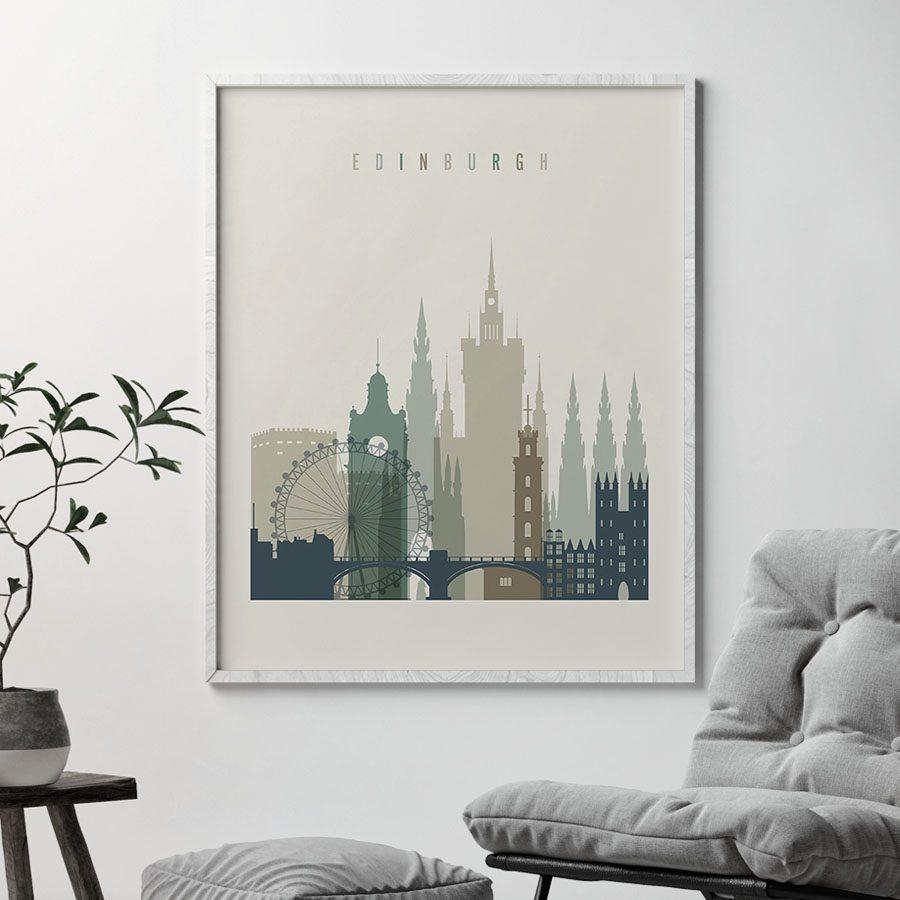 Edinburgh print skyline earth tones 1 second