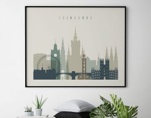 Edinburgh print earth tones 1 landscape second