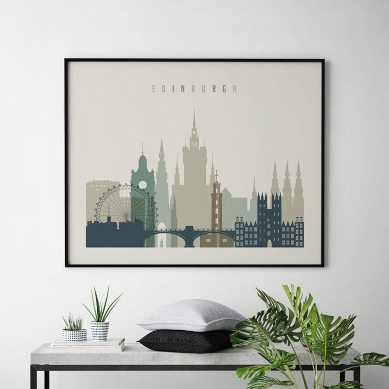 Edinburgh print earth tones 1 landscape second