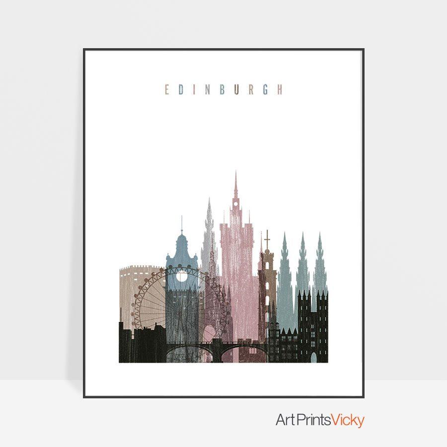 Edinburgh skyline poster distressed 1
