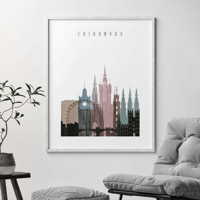 Edinburgh skyline poster distressed 1 second