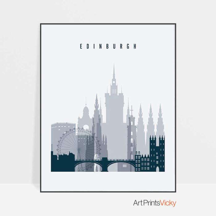 Edinburgh skyline poster grey blue