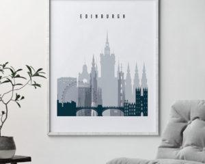 Edinburgh skyline poster grey blue second