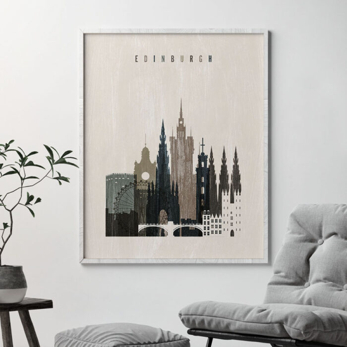 Edinburgh skyline print distressed 2 second