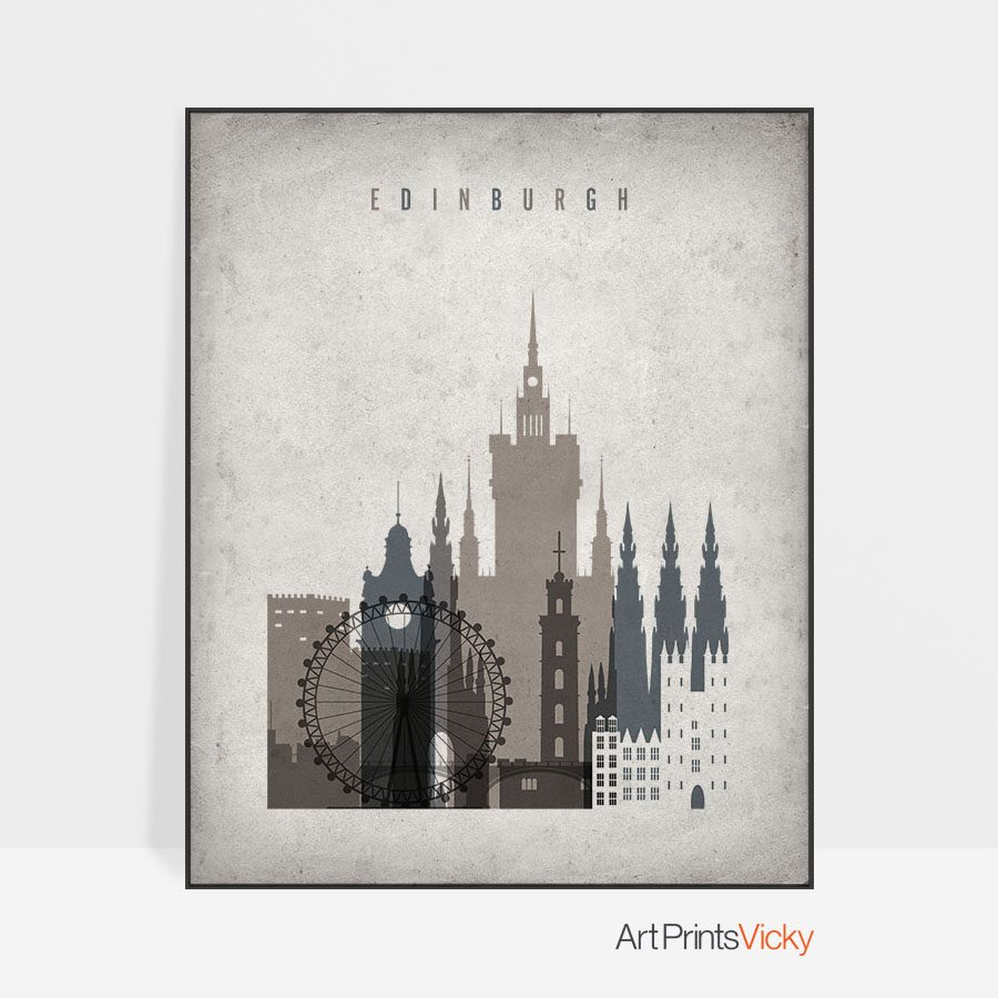 Edinburgh skyline wall art retro