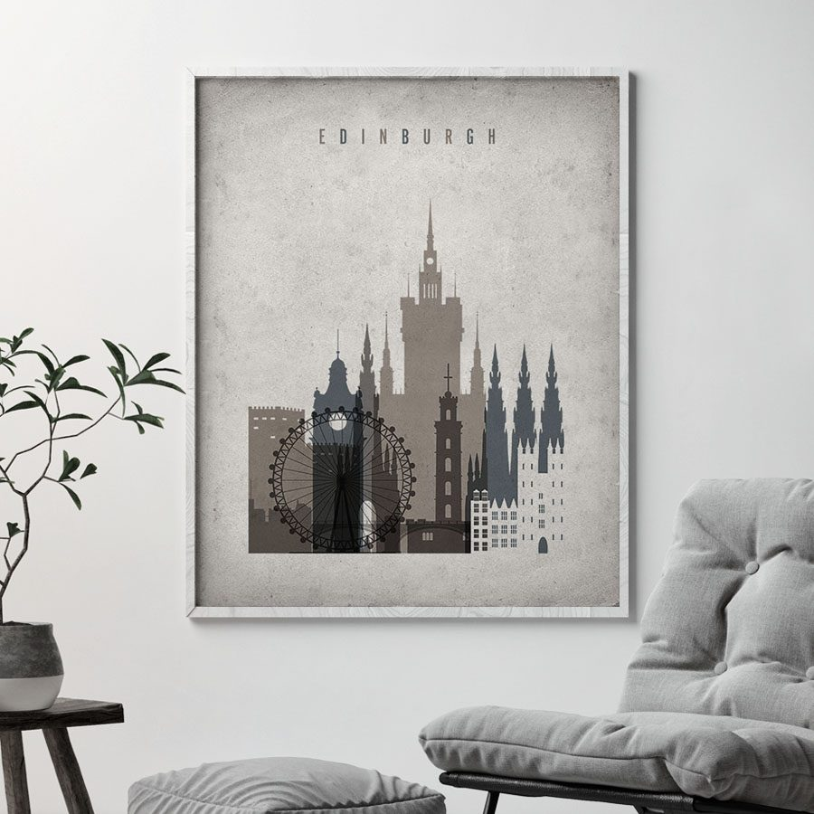 Edinburgh skyline wall art retro second