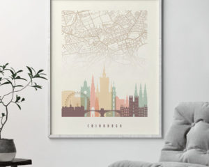Edinburgh map print poster pastel cream second
