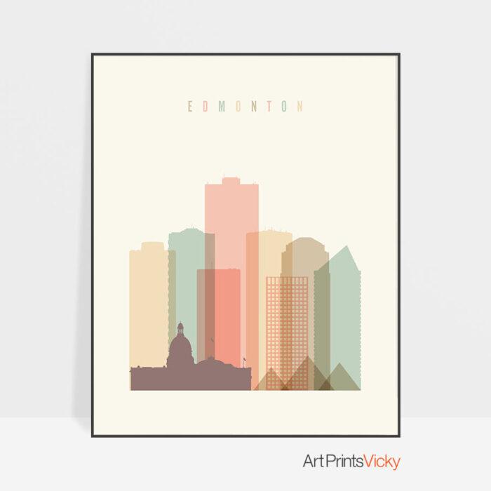 Edmonton art print skyline pastel cream