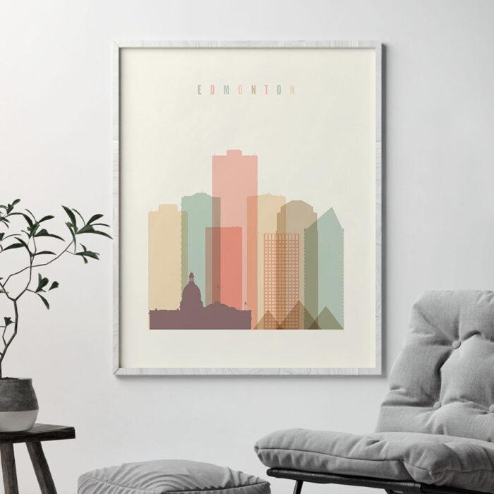 Edmonton art print skyline pastel cream second