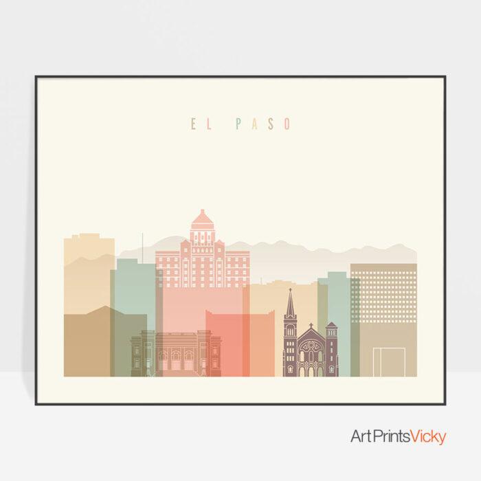 El Paso poster skyline pastel cream landscape
