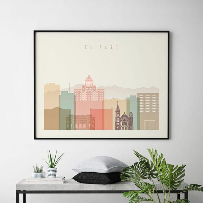 El Paso poster skyline pastel cream landscape second