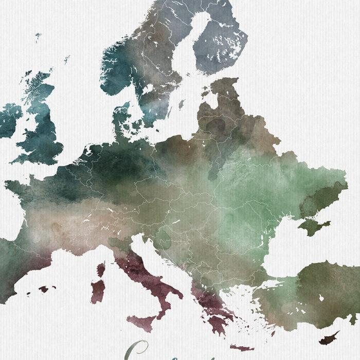 Europe map poster detail