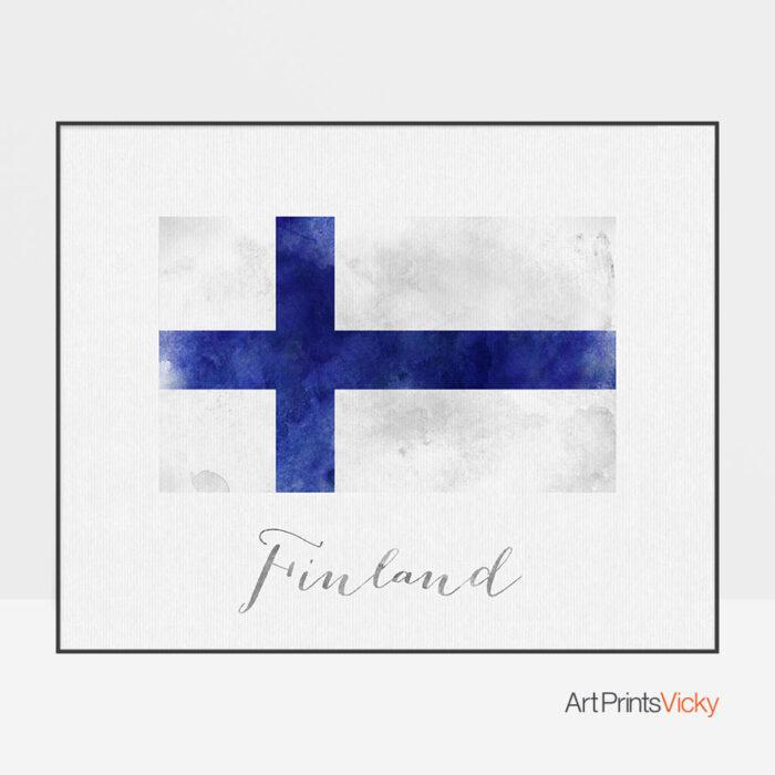 Finland flag art print