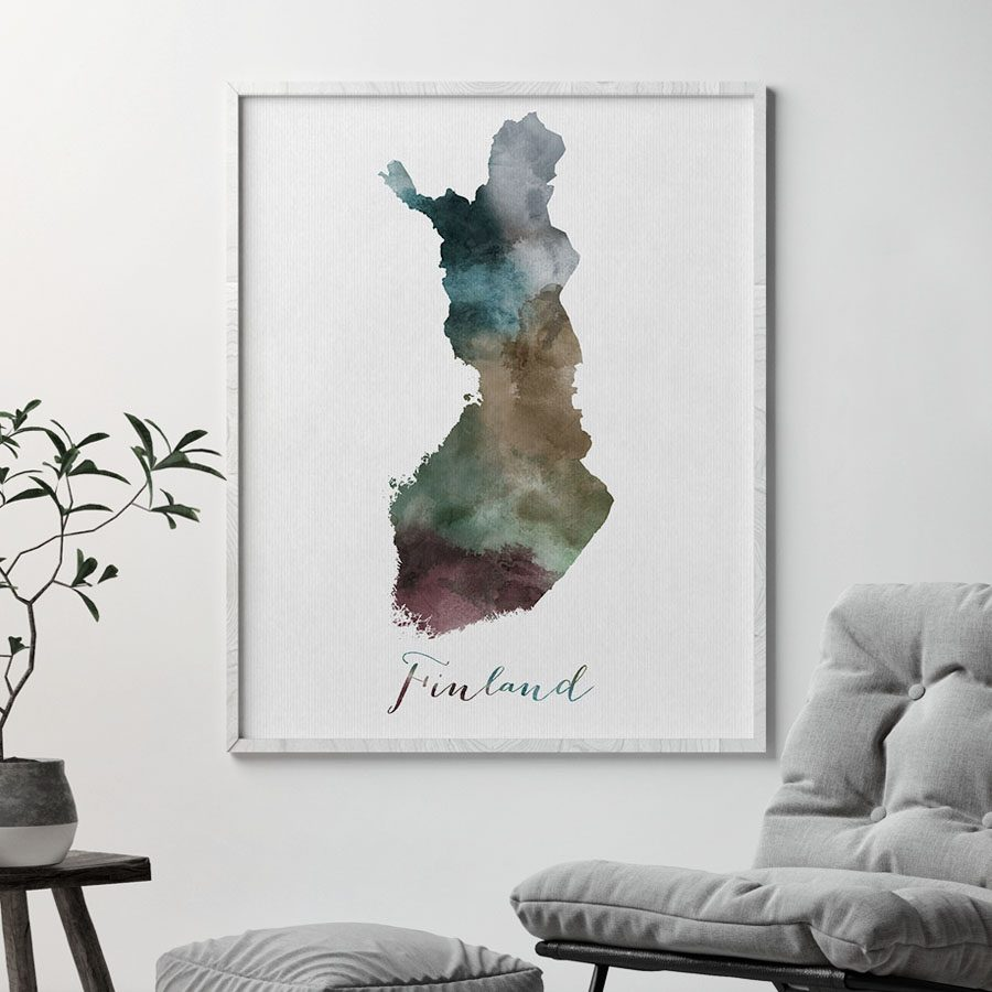 Finland map print second