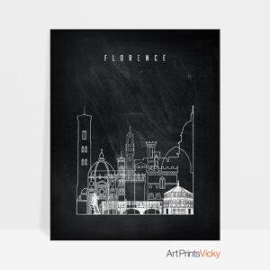 Florence chalkboard black white skyline print