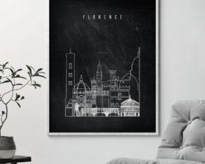 Florence chalkboard black white skyline print second