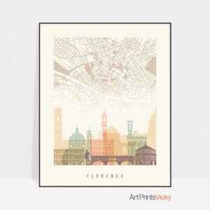 Florence Map Print Pastel Cream