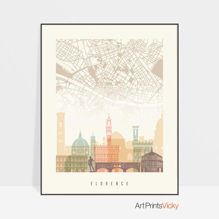 Florence map print poster pastel cream