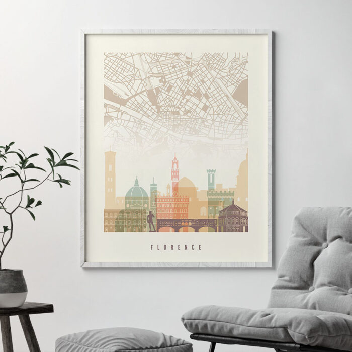 Florence map print poster pastel cream second