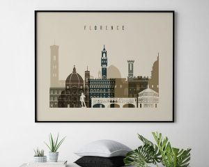 Florence art print landscape earth tones 3 second