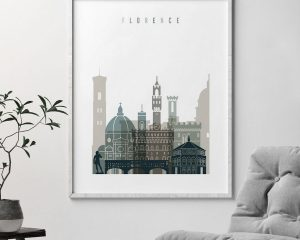 Florence art print skyline earth tones 4 second