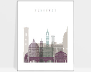 Florence Italy print skyline pastel 2
