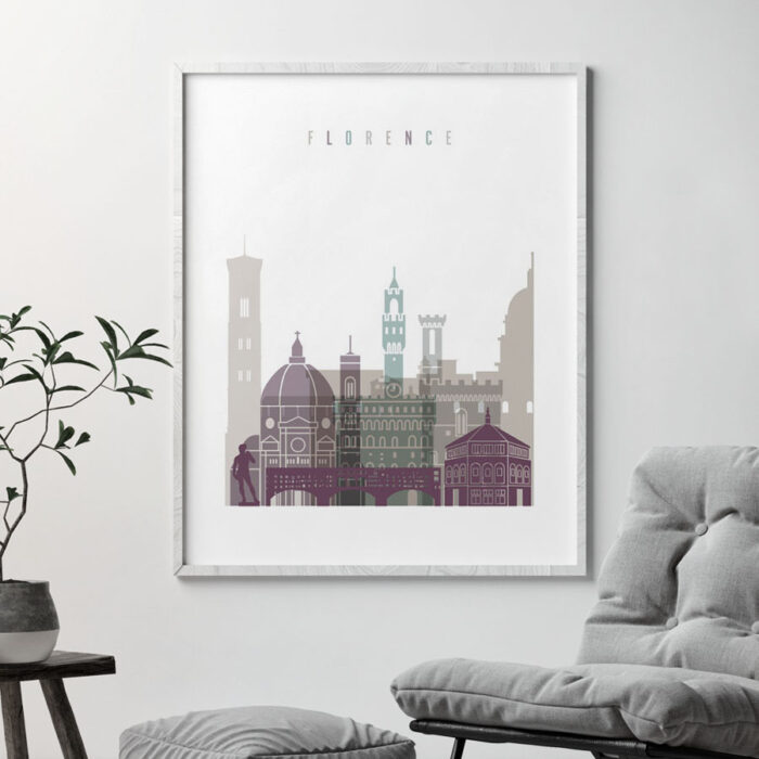 Florence Italy print skyline pastel 2 second