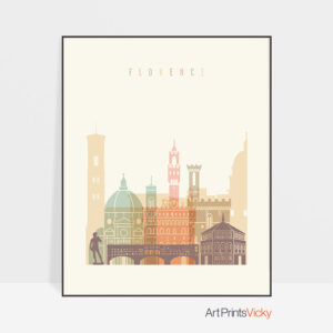Florence art print skyline pastel cream