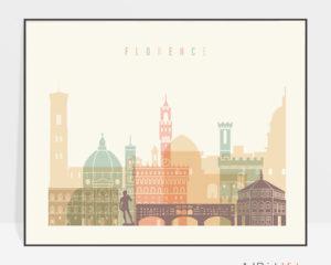 Florence travel poster pastel cream landscape