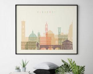 Florence travel poster pastel cream landscape second
