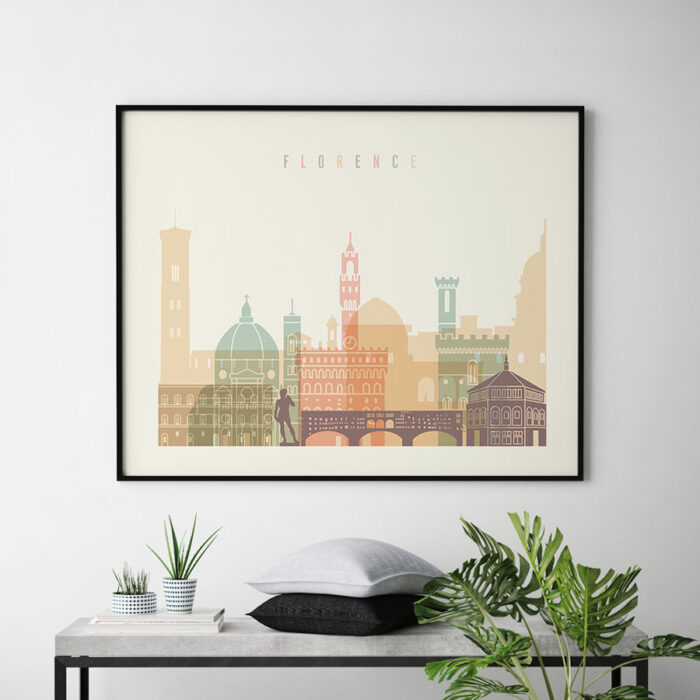 Florence travel poster pastel cream landscape second