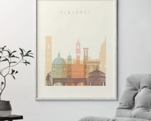 Florence art print skyline pastel cream second