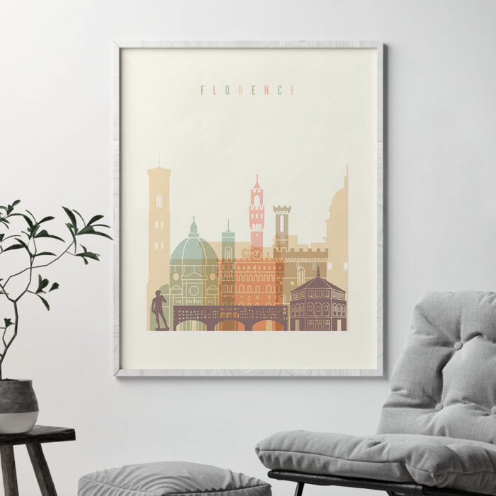 Florence art print skyline pastel cream second