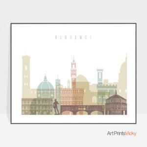 Florence skyline art pastel white landscape