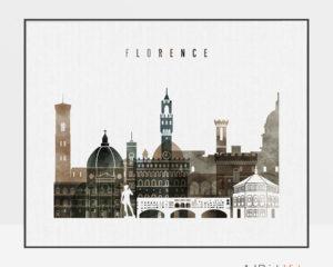 Florence skyline print watercolor 2 landscape