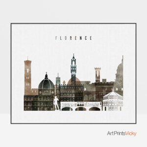 Florence skyline print watercolor 2 landscape