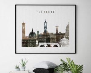 Florence skyline print watercolor 2 landscape second